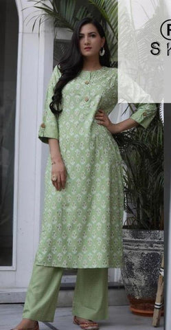 Light Green Color Rayon Women's Stitched Kurti With Pant - AC_07