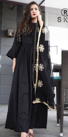 Black Color Rayon Women's Stitched Kurti With Dupatta - AC_08