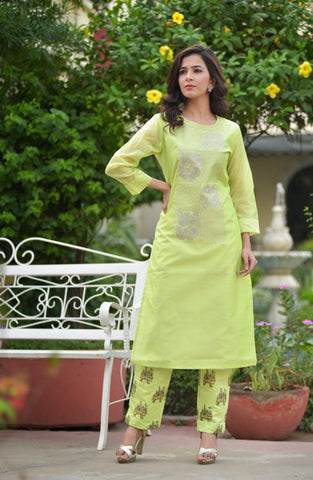 Parrot Green Color Chanderi Women's Stitched Kurti With Pant - AC_09