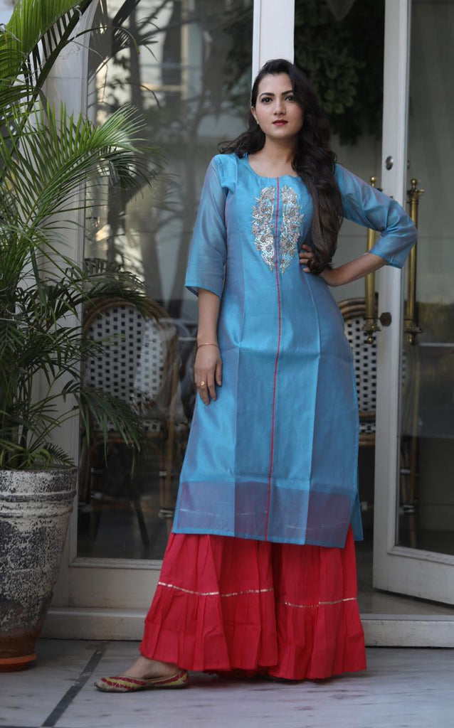 Buy Sky Blue Color Chanderi Women's Stitched Kurti with Sharara Set