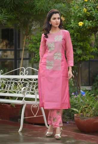 Pink Color Chanderi Women's Stitched Kurti With Pant - AC_12
