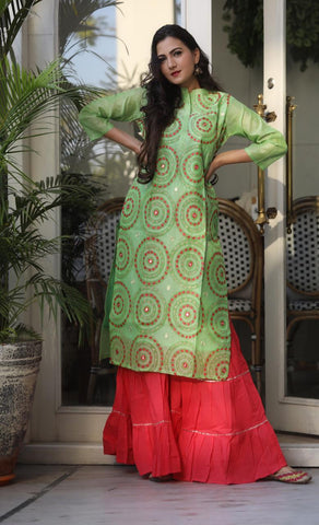 Light Green Color Chanderi Women's Stitched Kurti with Sharara Set - AC_14