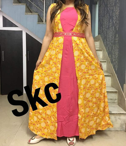 Pink and Yellow Color Rayon Women's Stitched Gown - AC_15