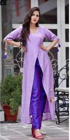 Purple Color Rayon Women's Stitched Kurti With Pant - AC_17