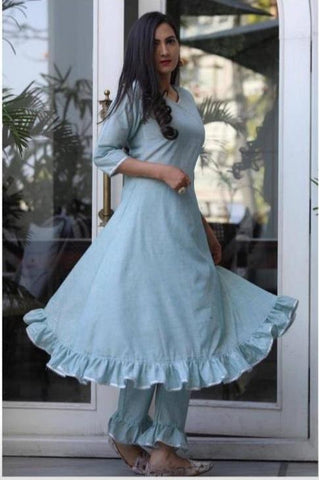 Light Blue Color Rayon Women's Stitched Kurti With Pant - AC_23