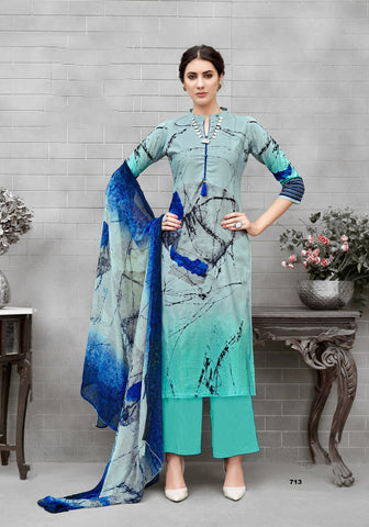 Grey and Sea Green Color Pure Cotton UnStitched Salwar  - ADCT713