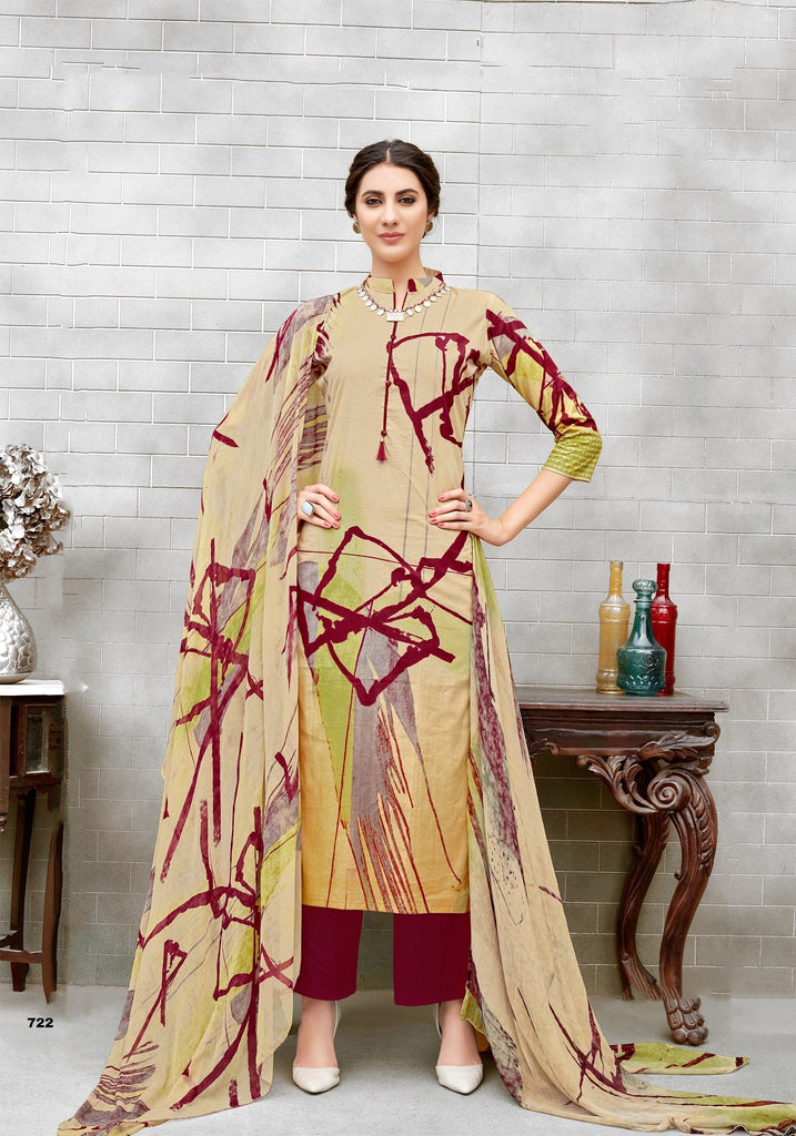Buy Beige Color Pure Cotton UnStitched Salwar