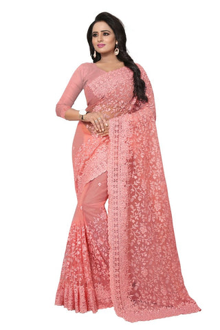 Baby pink Color Net Saree-ADORABLE-385