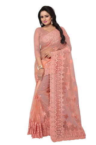 Baby pink Color Net Saree-ADORABLE-392