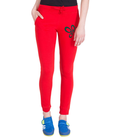AMERICAN ELM-Red  Color Cotton Track Pant-AE-PWL-85