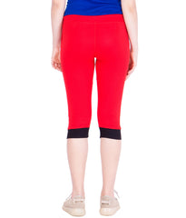 AMERICAN-ELM- Women's Red Cotton Capri- 3/4th Pants- AE-WCP-18