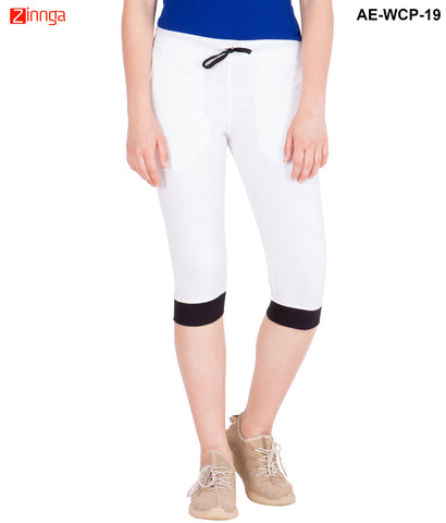 AMERICAN-ELM- Women's White Cotton Capri- 3/4th Pants- AE-WCP-19