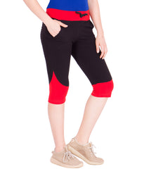AMERICAN-ELM- Women's Black and Red Cotton Capri- 3/4th Pants- AE-WCP-21