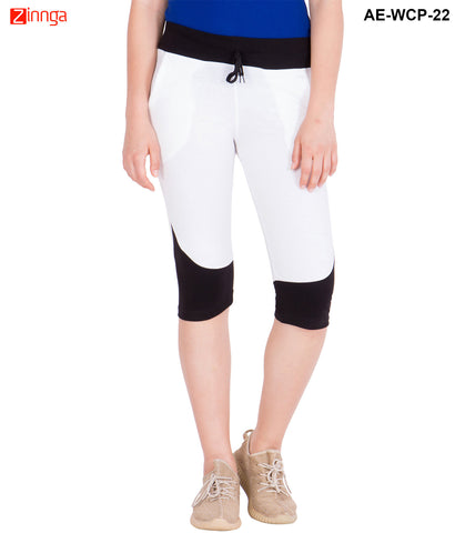 AMERICAN-ELM- Women's Black & White Cotton Capri- 3/4th Pants- AE-WCP-22