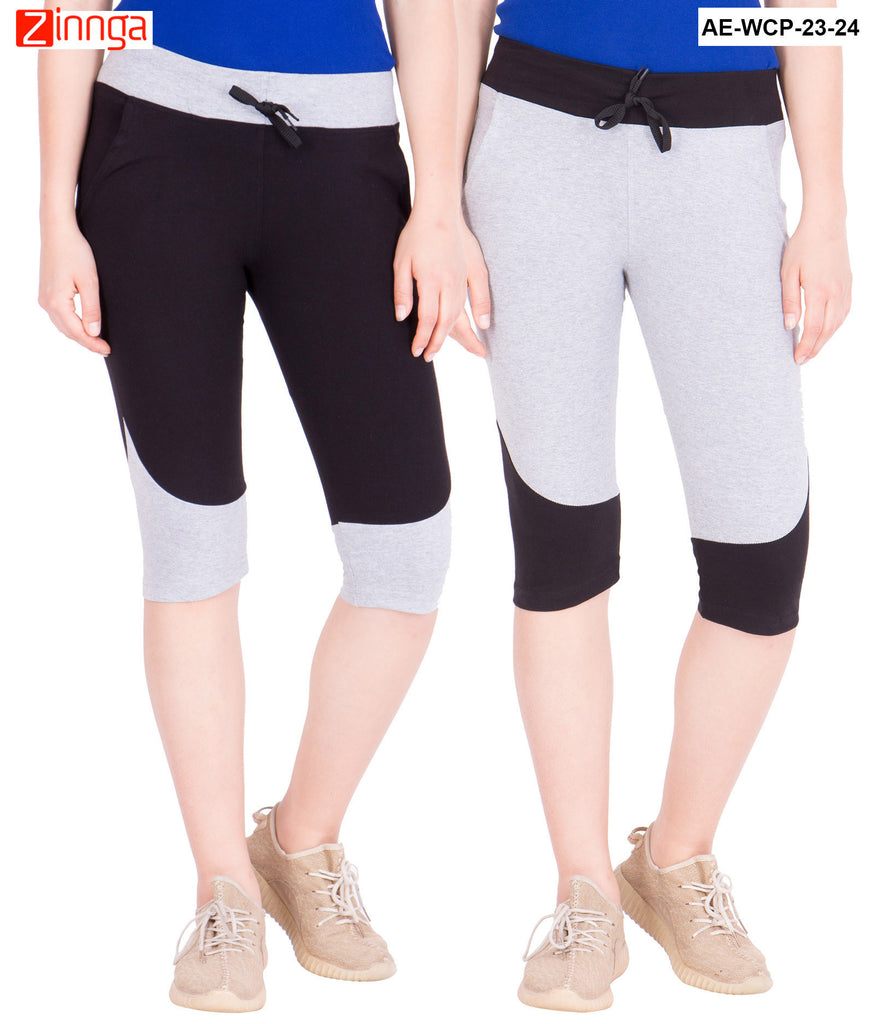 AMERICAN ELM-Women's Pack Of 2 Beautiful Cotton Capris - AE-WCP-23-24