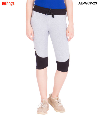 AMERICAN-ELM- Women's Cotton Grey and Black Capri- 3/4th Pants- AE-WCP-23