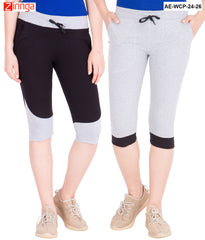 AMERICAN ELM-Women's Pack Of 2 Beautiful Cotton Capris - AE-WCP-24-26