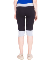 AMERICAN-ELM- Women's Stylish Black Cotton Capri- 3/4th Pants- AE-WCP-24