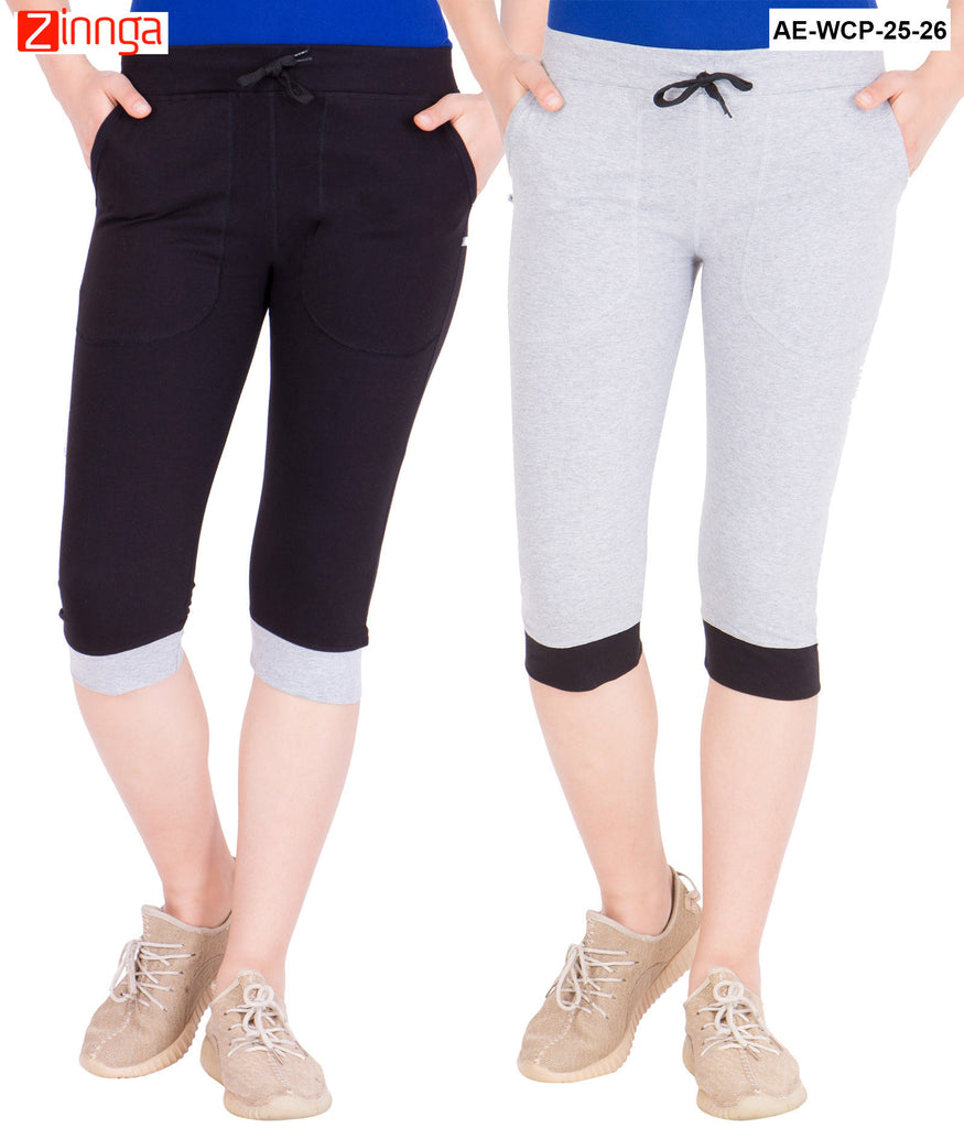 AMERICAN ELM-Women's Pack Of 2 Beautiful Cotton Capris - AE-WCP-25-26