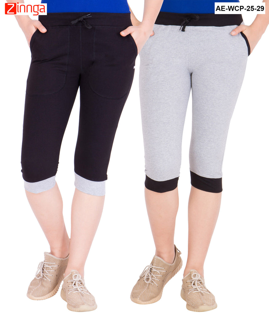 AMERICAN ELM-Women's Pack Of 2 Beautiful Cotton Capris - AE-WCP-25-29