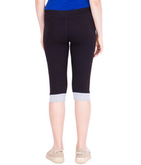 AMERICAN-ELM- Women's Black Stylish Cotton Capri- 3/4th Pants- AE-WCP-25