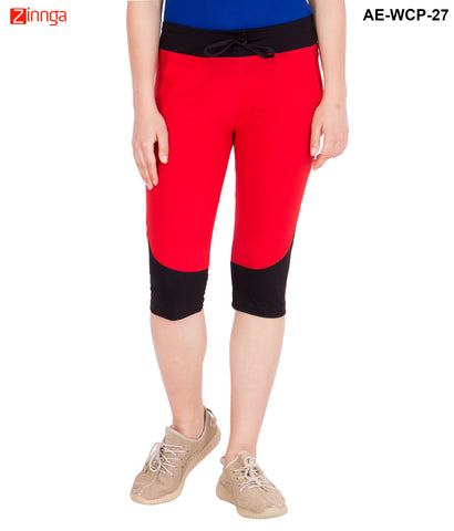AMERICAN-ELM- Women's Red & Black Cotton Capri- 3/4th Pants- AE-WCP-27