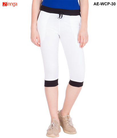 AMERICAN-ELM- Women's White Cotton Capri- 3/4th Pants- AE-WCP-30