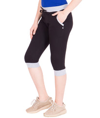AMERICAN-ELM- Women's Pure Cotton Black Capri- 3/4th Pants- AE-WCP-31