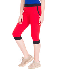 AMERICAN-ELM- Women's Red Cotton Capri- 3/4th Pants- AE-WCP-32
