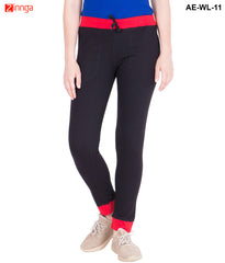 AMERICAN-ELM-Women's Cotton Track Pant-Black & Red- AE-WL-11