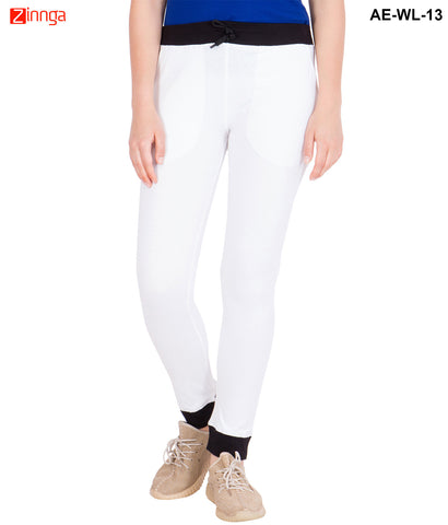 AMERICAN-ELM-Women's Cotton Track Pant-White & Black- AE-WL-13