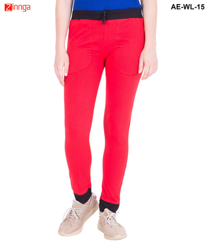 AMERICAN-ELM-Women's Cotton Track Pant-Red & Black- AE-WL-15