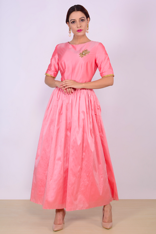 Pink Color Taffeta Stitched Gown - AE04