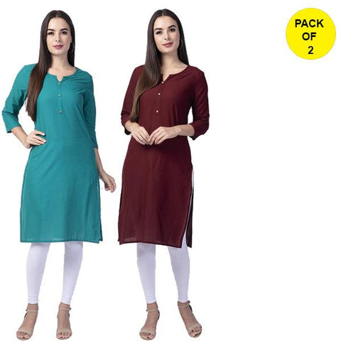 Pack of 2 -Turquoise and Wine Color Cotton Women's Kurtis - turq-cotton-kurta, wine-cotton-kurta