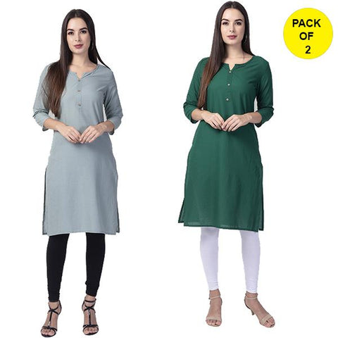 Pack of 2 -Grey and Green Color Cotton Women's Kurtis - grey-cotton-kurta, green-cotton-kurta