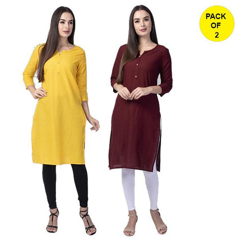 Pack of 2 -Yellow and Wine Color Cotton Women's Kurtis - yellow-cotton-kurta, wine-cotton-kurta