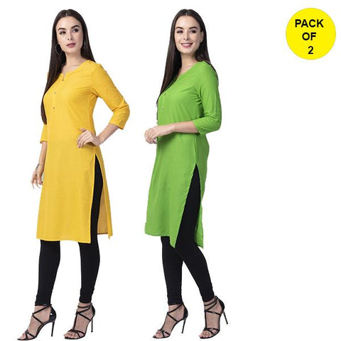 Pack of 2 -Yellow and Parrot Green Color Cotton Women's Kurtis - yellow-cotton-kurta, paroot-green-cotton-kurta