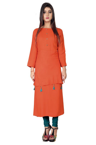 Orange  Color Rayon Stiched Kurti - AF-10