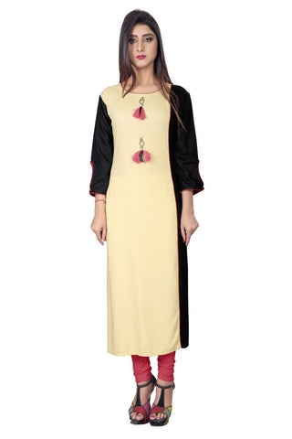 Beige  Color Rayon Stiched Kurti - AF-11