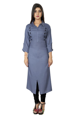 Grey Color Rayon Stiched Kurti - AF-12