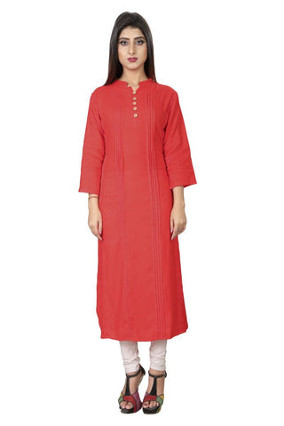 Orange Color Rayon Stiched Kurti - AF-13