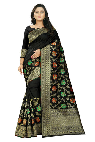 Black Color Banarasi Silk Saree - AF-2277-Black
