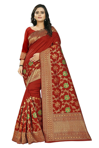 Red Color Banarasi Silk Saree - AF-2277-Red