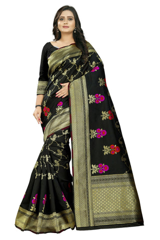 Black Color Banarasi Silk Saree - AF-2304-Black