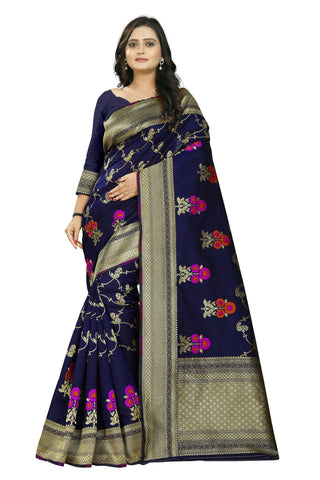 Blue Color Banarasi Silk Saree - AF-2304-Blue