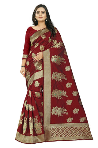 Maroon Color Banarasi Silk Saree - AF-2330-Maroon