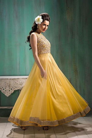 Yellow Color Soft Net Semi Stitched Gown - AF-23