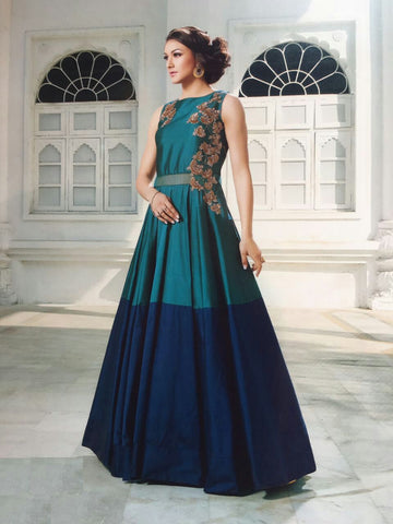 Blue   Color Tapeta Silk Semi Stitched Gown - AF-29