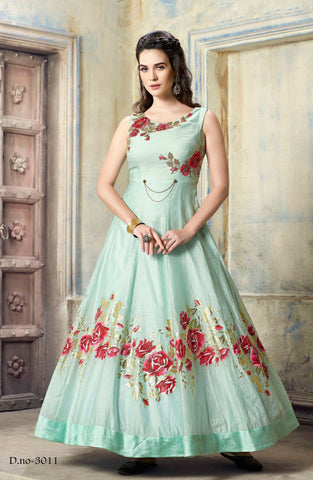 Aqua Blue Color Malbari Silk  Semi Stitched Gown - AF-3011