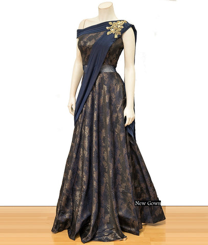 Navy Blue Color Paper Silk  Semi Stitched Gown - AF-3012
